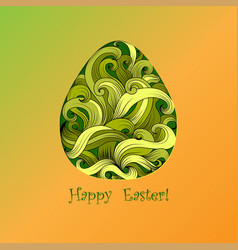greeting card of easter with color egg vector image vector image