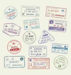 Icons of city passport stamps world travel vector