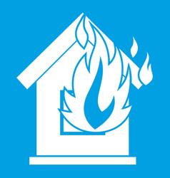 Preventing fire icon white vector