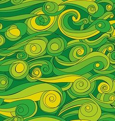 Seamless abstract pattern with green waves vector