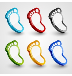 3d footprint collection vector image