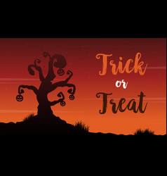 background of halloween with tree scenery vector image