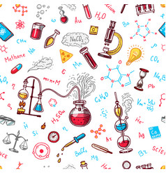chemistry seamless pattern chalkboard with vector image