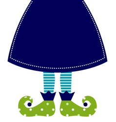 Cute christmas elf legs with skirt vector image