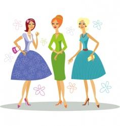 fashionable girls vector image