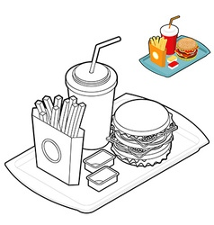 Fast food coloring book Food in linear style Big vector image