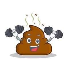 Fitnes poop emoticon character cartoon vector