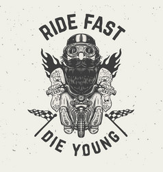 ride fast die young funny biker character on vector image vector image