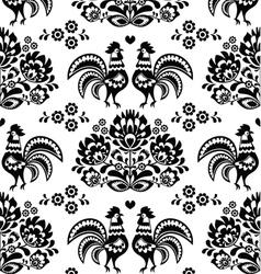 Seamless Polish Slavic black folk art pattern vector image vector image