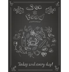 Set of hand drawn seafood on blackboard vector image