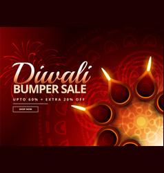 diwali sale voucher with beautiful diya decoration vector image vector image