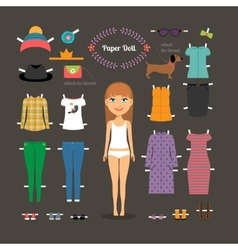 Dress up paper doll with big head vector image vector image
