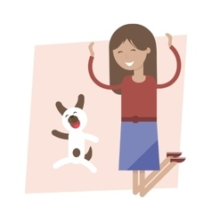 Girl and Dog Jumping for Joy vector image