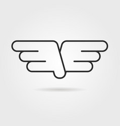 outline wings icon with shadow vector image