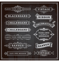 Vintage Banners Frames Ribbons Chalkboard Style vector image