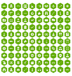 100 smuggling icons hexagon green vector