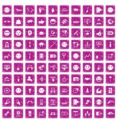 100 social media icons set grunge pink vector image