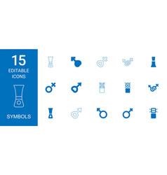 15 symbols icons vector