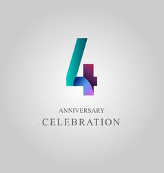 4 year anniversary celebration template design vector