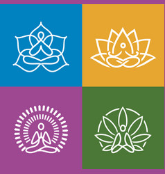 abstract yoga icons set vector image