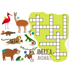 america animals set kids crossword vector image