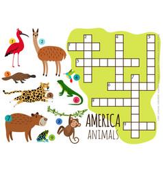 America animals set kids crossword vector