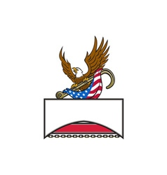 American Eagle Clutching Towing J Hook Flag Retro vector