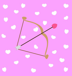 Arrow cupid with hearts valentine day vector