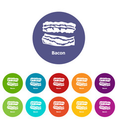 bacon icons set color vector image