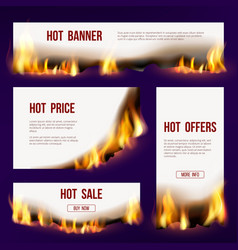 Banners flame advertizing template with fire vector