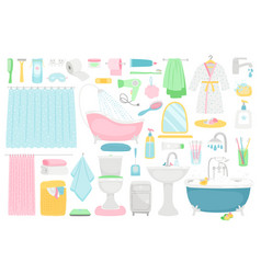 bathroom cartoon furniture and accessories vector image