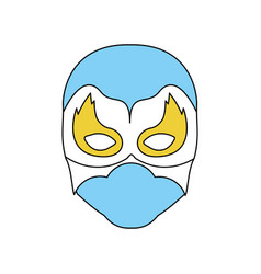 Blue silhouette with face of man superhero masked vector