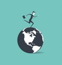 businessman running around the world vector image