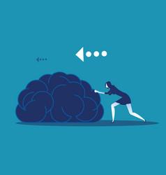 Businesswoman push brain concept business vector