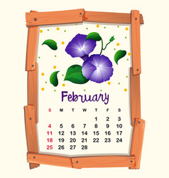 Calendar template for february with morning glory vector