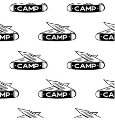 Camping knife symbols seamless pattern silhouette vector