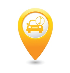 Car with music icon map pointer yellow vector