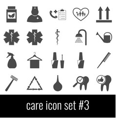 care icon set 3 gray icons on white background vector image