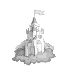 Cartoon medieval fun colorless castle with flag vector