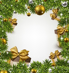 Christmas frame with fir branches and balls vector image