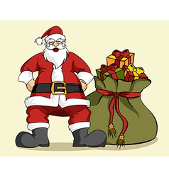 Christmas series Santa Claus and gifts bag vector