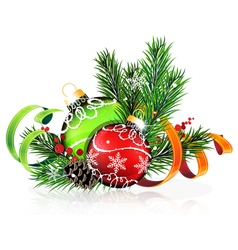 Christmas tree balls with green and orange ribbons vector