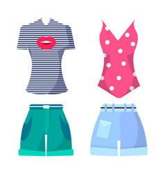 Clothes set summer mode poster vector