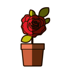 colorful shading drawing flowered red rose with vector image