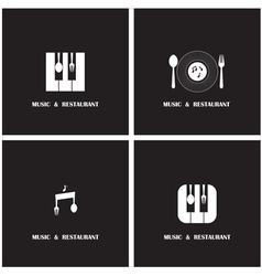 Creative Music and Restaurant icon abstract vector