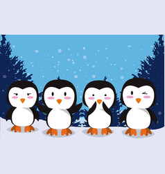 Cute little penguins characters in snow vector