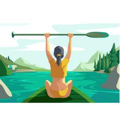 cute woman on lake vector image