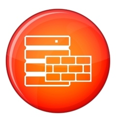 Database and brick wall icon flat style vector