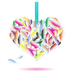 decorative heart symbol from color feathers eps10 vector image