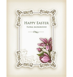Easter with floral frame vector